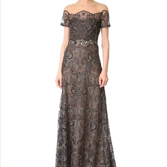 marchesa notte Dresses | Black Sequined Embellished Gown | Poshmark